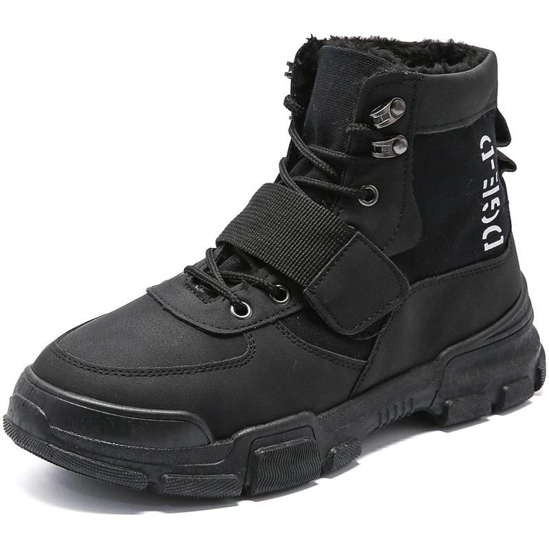 1149P39英伦风潮男士男靴保暖百搭高帮棉靴工装靴冬季加棉马丁靴