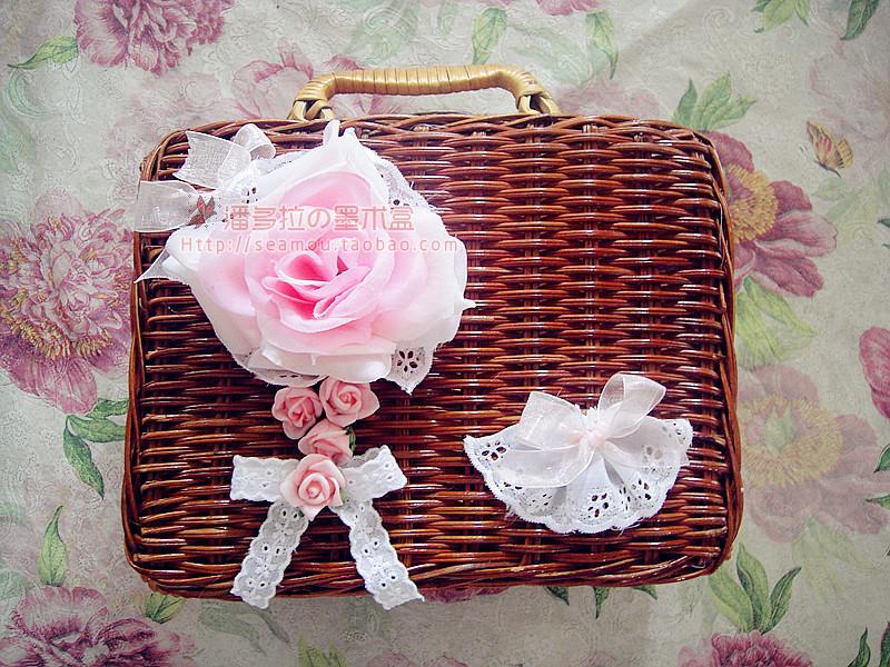 墨細工lolita Lolitaロリータのバラの花のレースのcos藤編みのハンドバッグの藤編みの箱