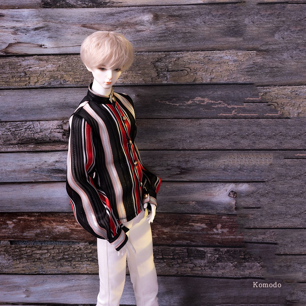 New BJD baby dress casual stripe top 3 / 4 Long Sleeve Chiffon shirt dress uniform doll shirt shirt