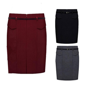 2015 new European and American hip woolen skirt waist was thin skirts fashion career yards solid color skirts