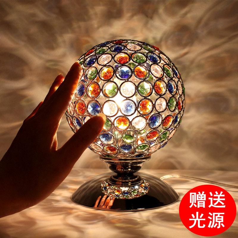 水晶卧室床头灯七彩色水晶灯台灯