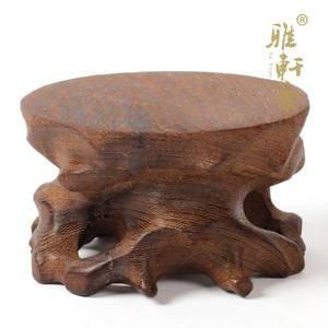 实木雕刻工艺品摆件可挖槽石头托架