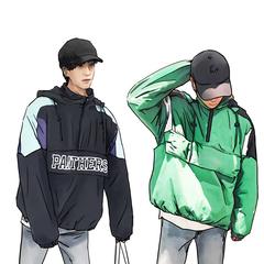 2018韩国宽松嘻哈日系工装连帽棉衣棉服加厚男潮 W181-P120
