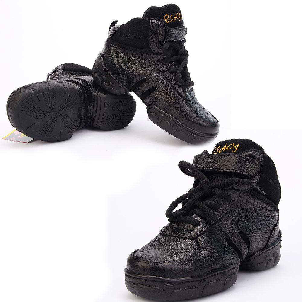 Детская танцевальная обувь Обувь для танцев для детей в конце тренеры черные Кожа девочек мальчиков обувь для танцев, джаз обувь