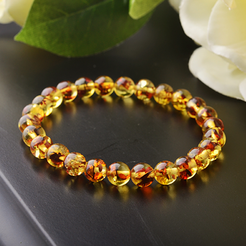 Ecats natural amber red flower female single circle bead bracelet bracelet jewelry accessories