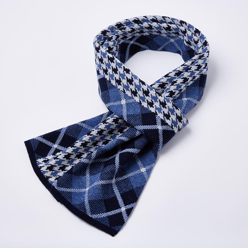 0065P145韩版千鸟格拼色高档生日礼物加厚针织围巾100%纯羊毛围巾