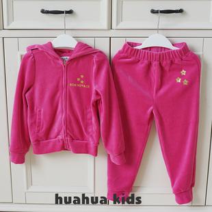 女童套裝春秋款兒童女童天鵝絨運動套裝中小童嬰兒寶寶衞衣套裝