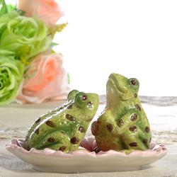 田园手绘陶瓷青蛙椒盐罐收纳盘家居装饰小摆设装饰果碗家居礼品