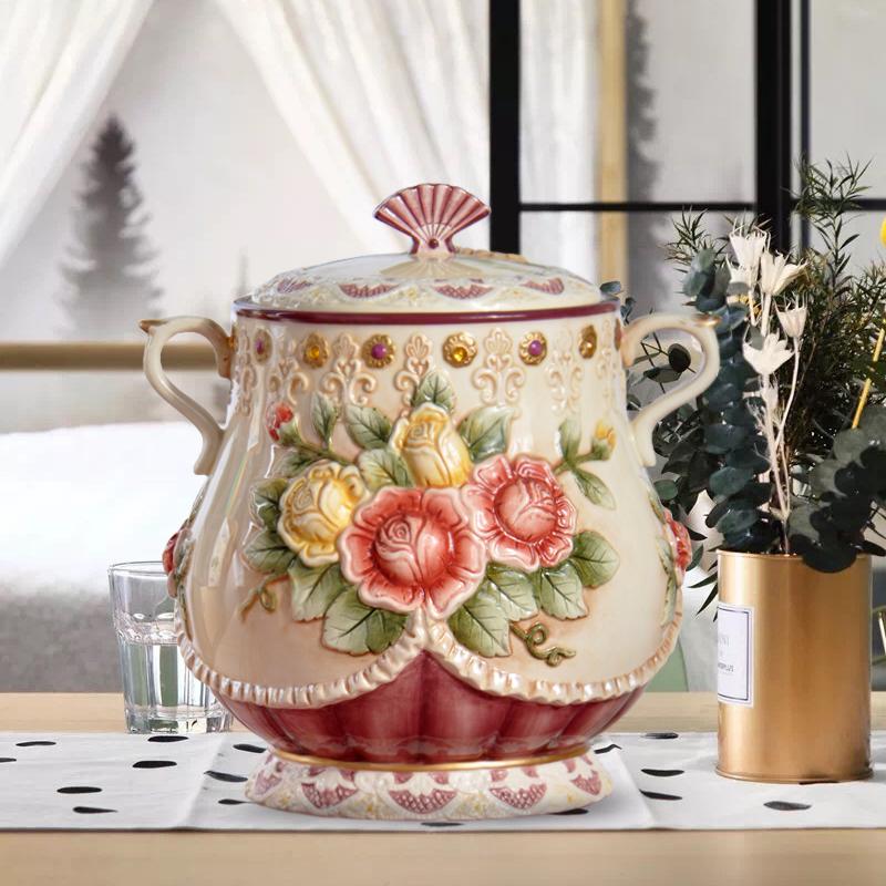 欧式陶瓷储物罐维多利亚密封糖果饼干罐高档陶瓷新居摆设家居礼品