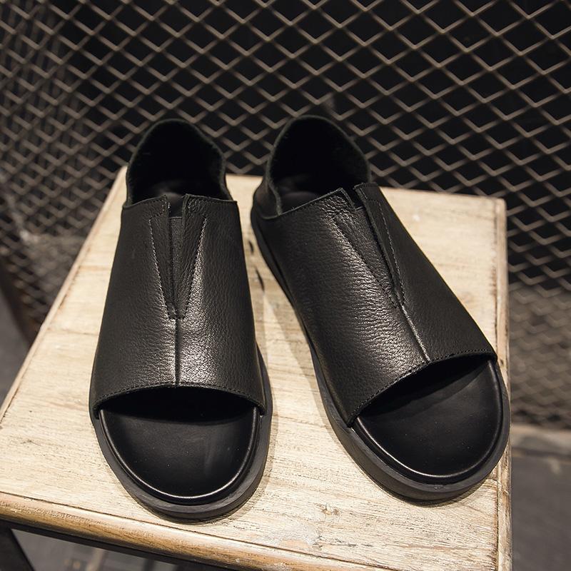 夏季新款沙滩鞋休闲鞋罗马鞋真皮男士复古凉鞋韩版  CY06
