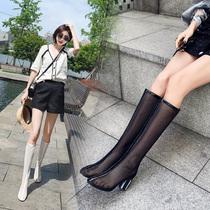 网纱镂空靴子女夏季中筒靴网红粗跟高筒凉靴真皮高跟网靴白色长靴