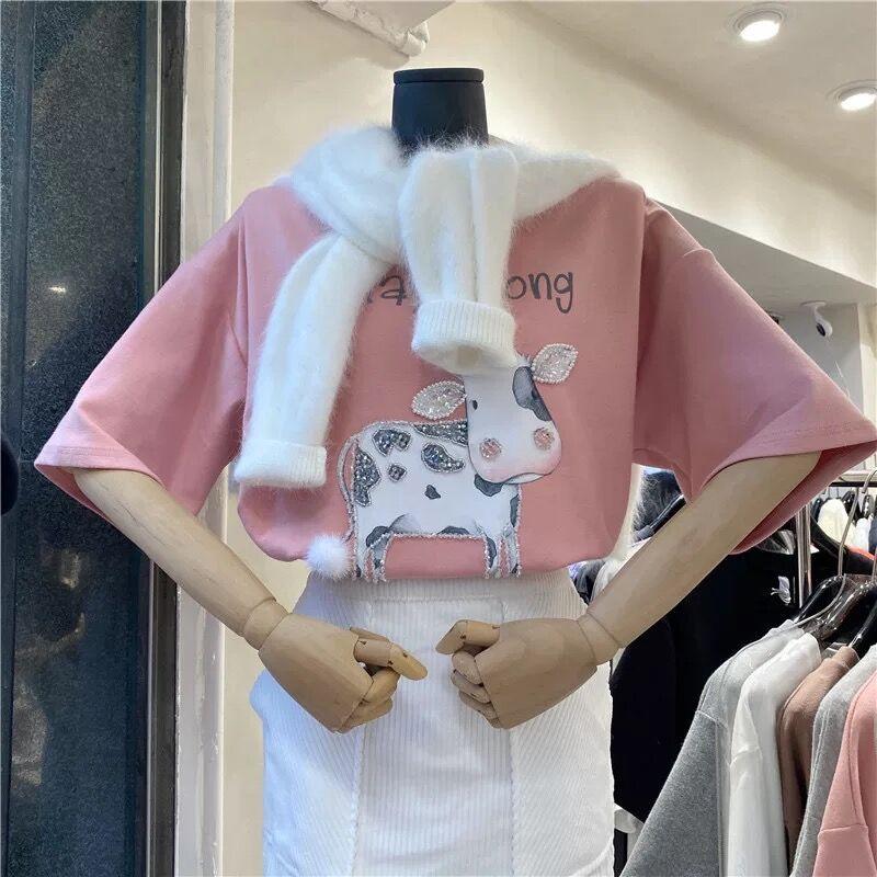 2057#韩版新款宽松洋气重工钉珠亮片奶牛烫钻短袖T恤上衣原版