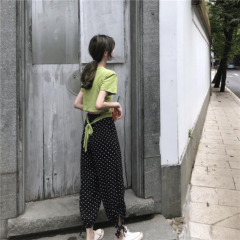 6606#實拍 夏季韓版百搭套頭純色修身女tee露腰綁帶氣質女顯瘦T恤
