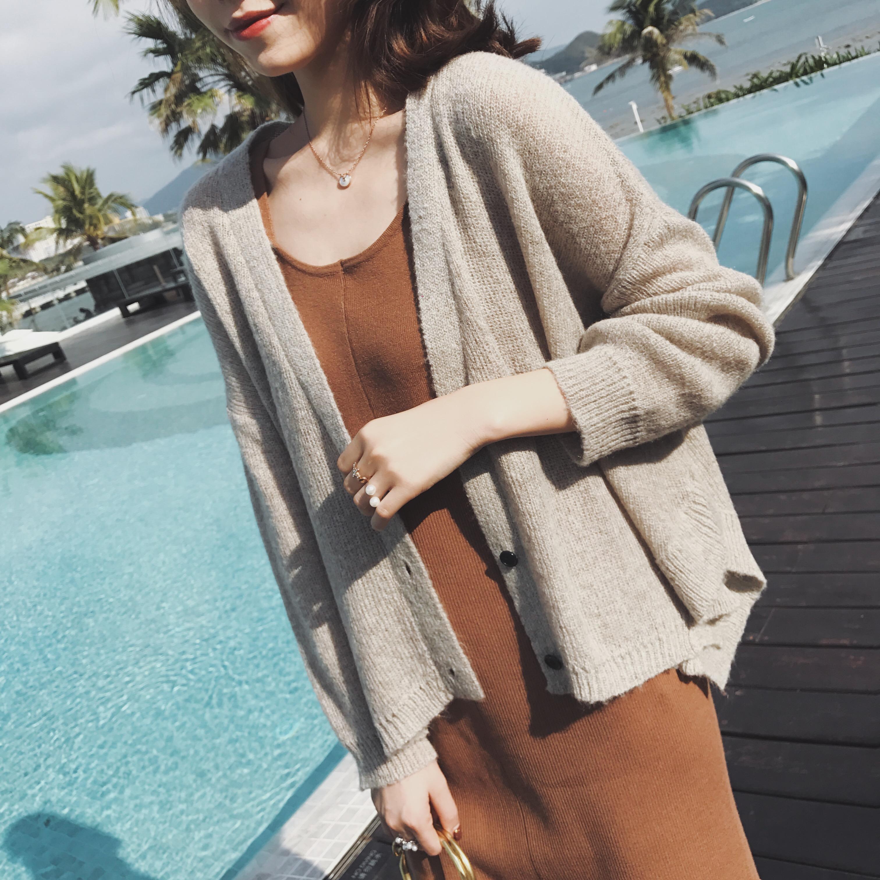 GG чистый орангутанг одежда кардиган женщина студент длинный рукав 2018 рано весна новый неосторожный ленивый ветер тонкая модель chic вязание пальто волна