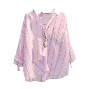 棉麻竖条纹薄2021春夏新款韩版衬衫
