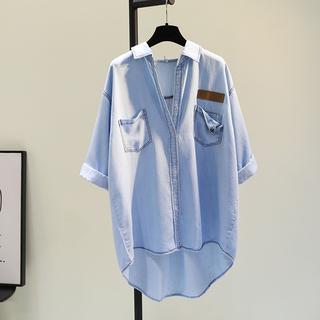 牛仔蓝丝光棉单口袋中长款衬衫女2021秋季新韩版七分袖薄衬衣上衣