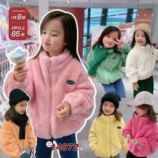 辰辰妈女童装亲子外套双面加绒加厚保暖中大童羊羔毛绒儿童秋冬装