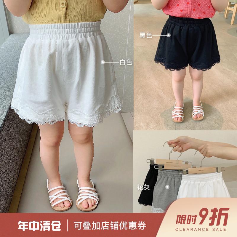 辰辰妈女童装儿童夏季洋气蕾丝花边休闲短裤薄款透气女宝宝宽松裤