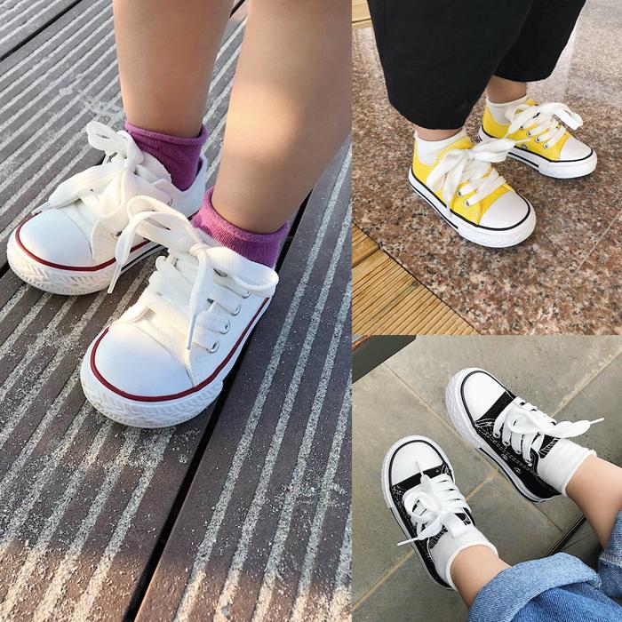 辰辰妈婴童装儿童女童运动板鞋防滑耐磨系带帆布鞋百搭宝宝休闲鞋