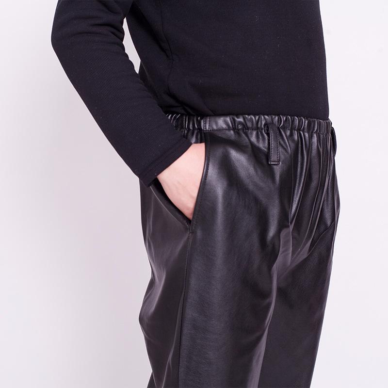 Весна и лето мужской Кожаные штаны водонепроницаемый Масляные рабочие брюки прямые утягивается Штаны для ремонта вагонов