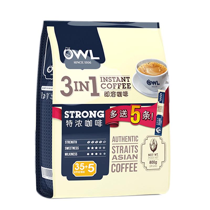 马来西亚原装进口猫头鹰OWL特浓咖啡三合一即溶咖啡800g包邮