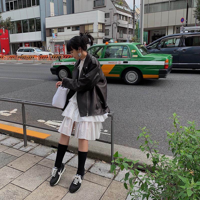 12-01新券pff女装【高回头率荷叶边小仙女】小众定制设计款白色多层连衣裙
