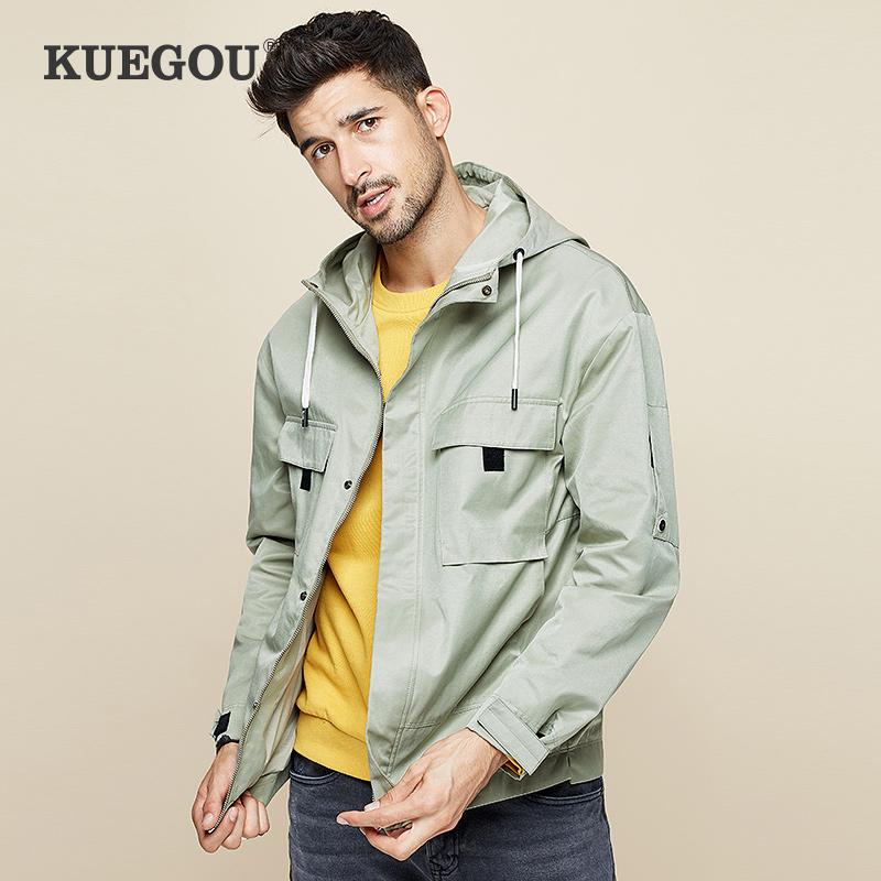 Kuegou mens coat autumn new casual hooded top trend Multi Pocket work jacket mens 0922