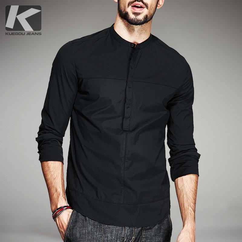 男士长袖衬衫韩版修身青年立领帅气薄款个性潮流简约休闲衬衣秋季