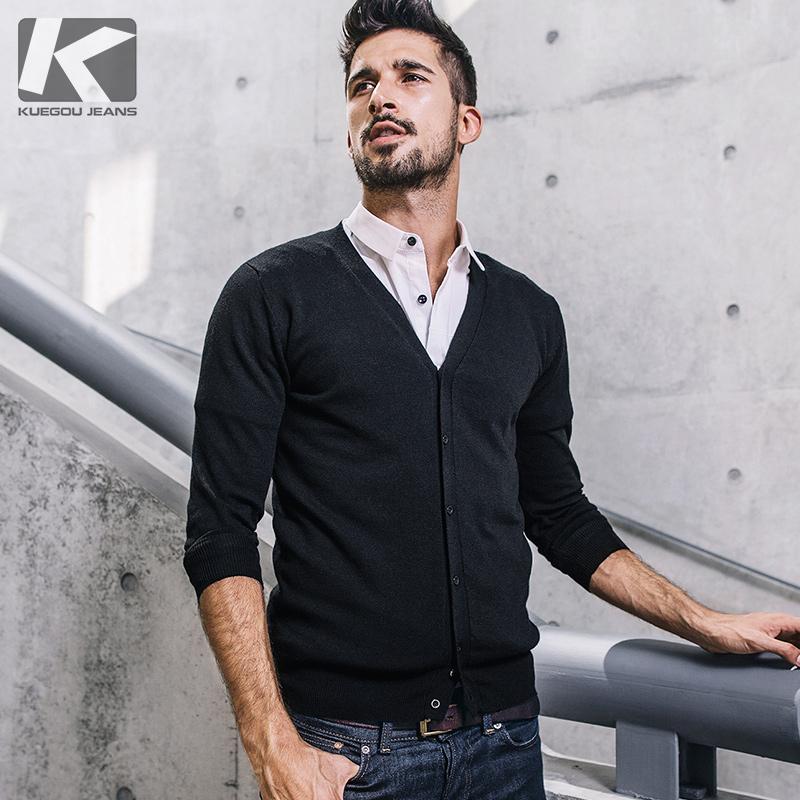 酷衣购 男士春季新款长袖针织衫 男韩版修身V领外套 男时尚2012