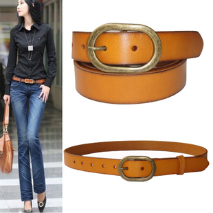 Women s leather belt pure leather belt Korean version of the simple wild female belt imported Italian head layer of leather