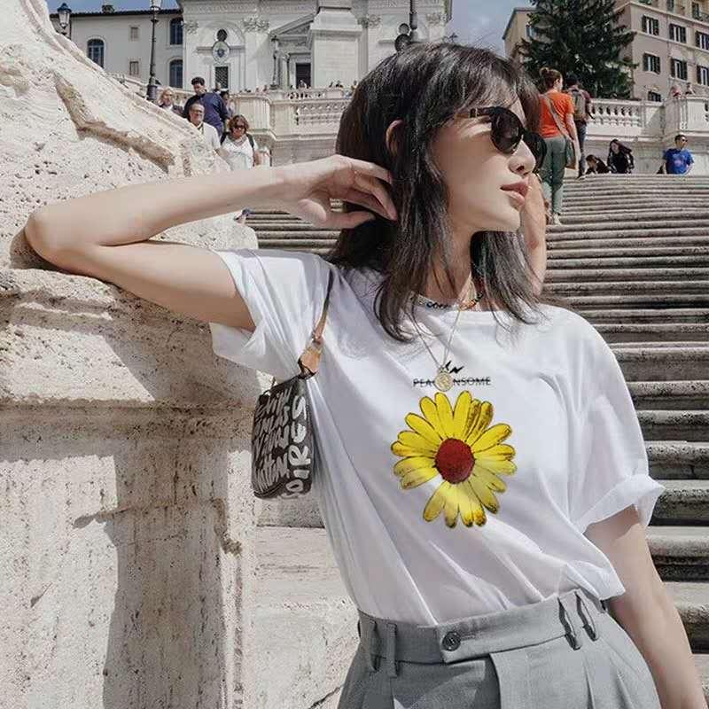 超火同款雏菊t恤女短袖闪电菊韩版宽松上衣印花情侣T恤女装图片