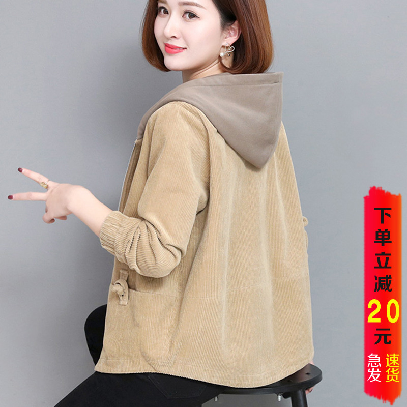 Corduroy Jacket Womens short retro loose 2020 spring and autumn new mothers foreign style jacket top versatile Hoodie