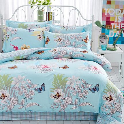 特价全棉斜纹四件套纯棉床单被套单人双人1.5m1.8米2.0床学生宿舍