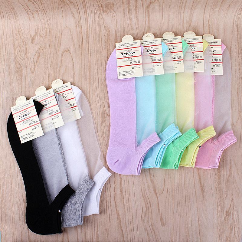 日系薄袜子玻璃纱拼接纯棉船袜隐形丝袜超薄浅口水晶丝棉底女袜