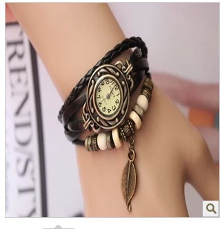 Korean fashion punk retro personalized gift knitting leather bracelet student watch female Wan Watch