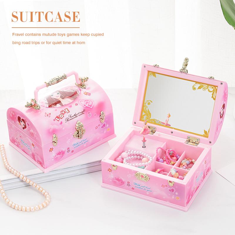 ins少女心儿童女孩梳妆音乐盒八音盒创意旋转跳舞手提箱生日礼物