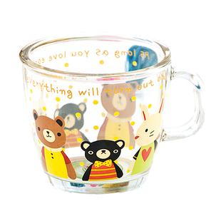 喝水卡通玻璃杯小帶把兒童可愛水杯防摔家用杯子牛奶杯玻璃寶寶女