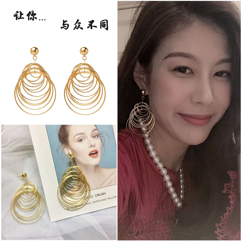Chiclady20 winter spring new net red same multi-layer ring big ear ring no ear hole ear clip earring female