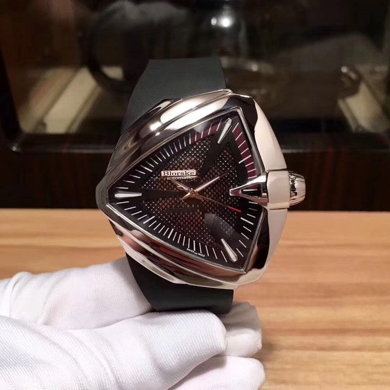 H24615331三角形手表时尚个姓运动全自动机械硅胶防水男士表同款