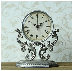 Rustic wrought iron seat Zhong Chaojing nostalgic tone bedside table clocks Continental bedroom home decorative furnishings Table Clock
