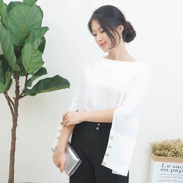 秋季雪纺衫女长袖2017新款韩版短款白色开衩袖一字领遮肚宽松上衣