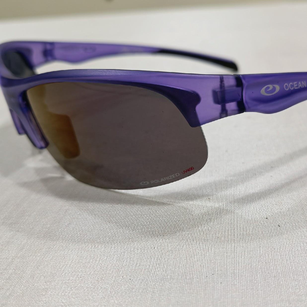 浅紫色刻标轻质镜框墨色偏光镜片户外运动款太阳镜墨镜骑行镜