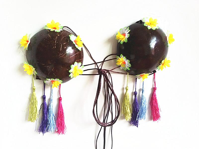 Смешанный цвет кисточка летний костюм BRA кокос скорлупа бюстгальтер гавайи нижнее белье свадьба целую невменяемость реквизит красный бриллиант специальное предложение