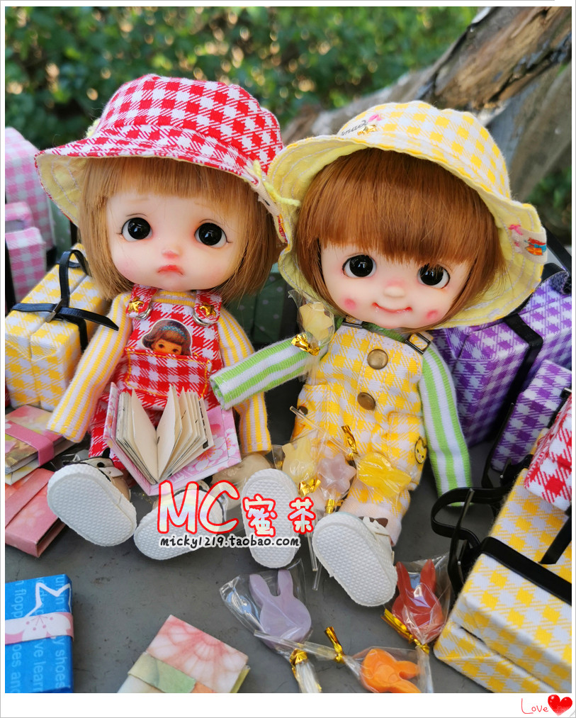 Honey tea bjd12684 points ob11 clay doll Molly accessories luggage case lollipop sugar gourd book