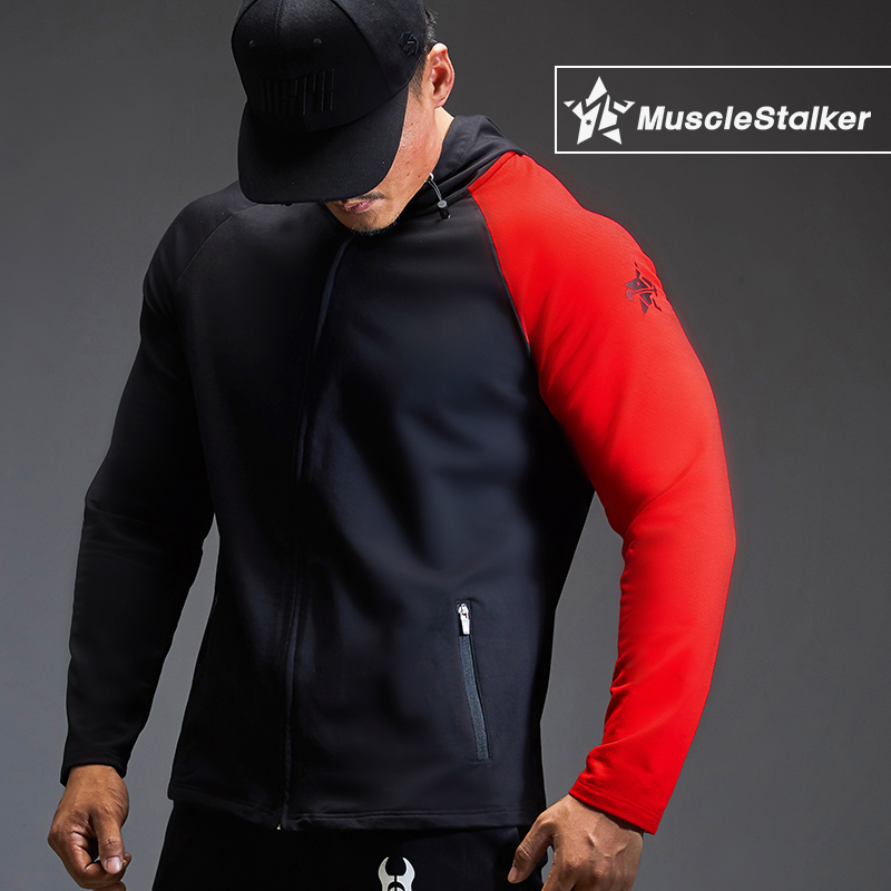 Musclestalker sports Hoodie mens fitness sweater color matching long sleeve coat autumn and winter training clothes with hat