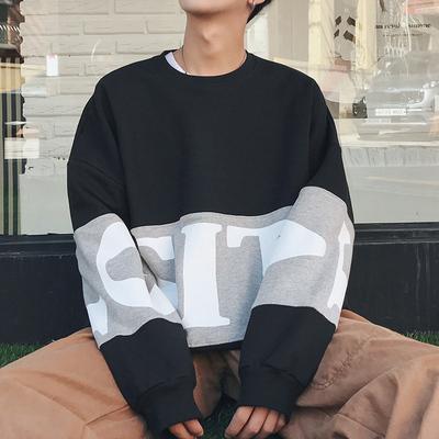 撞色大字母印花嘻哈套头韩版加绒冬季卫衣 两色 Y26/P65 控78