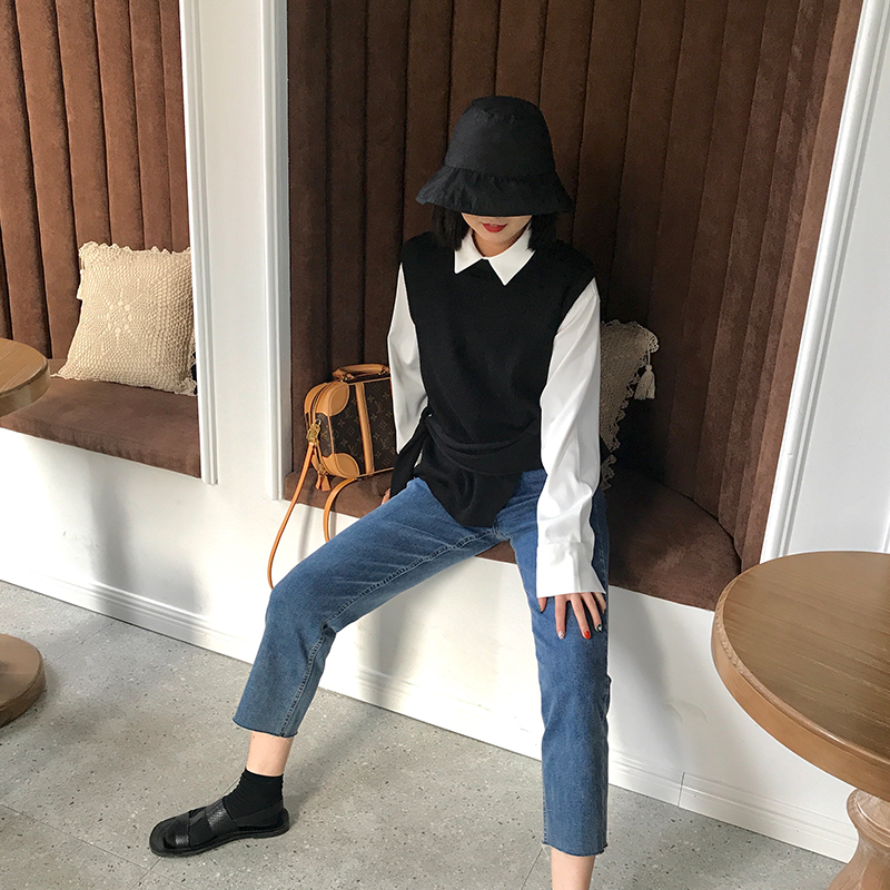 2020 spring new Korean version show thin sleeveless outer wear wool knitting waistcoat womens black all-around vest coat