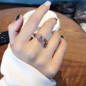 冷淡风玫瑰金食指戒指女日韩网红潮人装饰指环韩国个性学生戒子