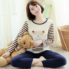 家居服睡衣906-1#休闲韩版女士长袖长裤针织棉可爱春秋卡通套装