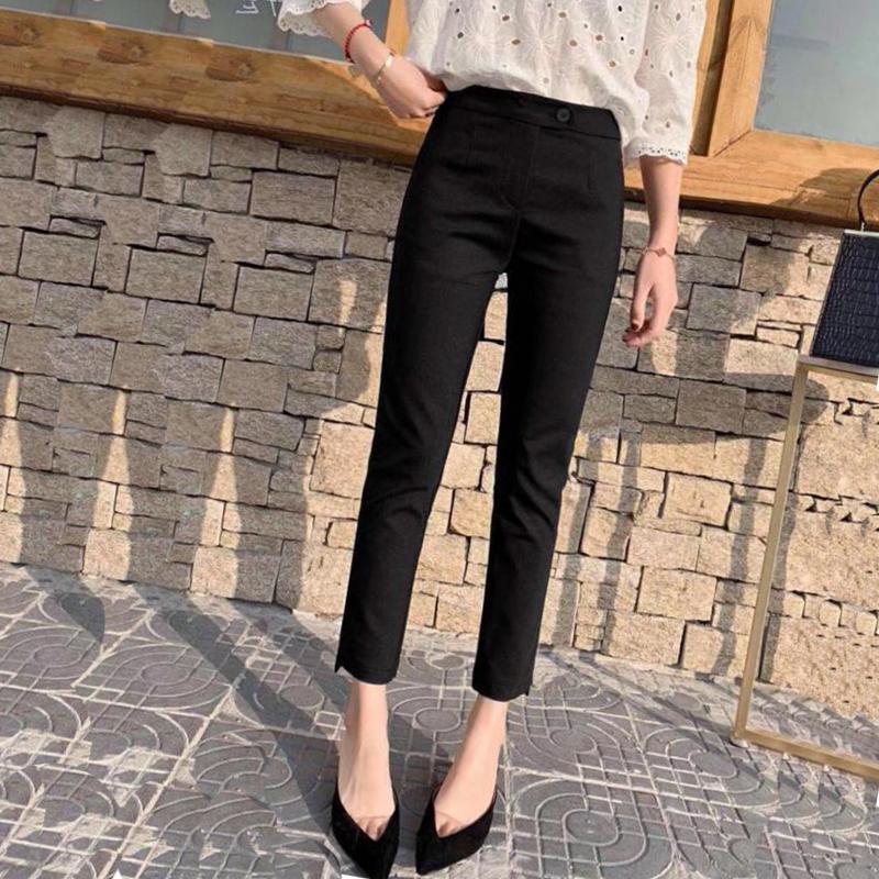 西裤女修身显瘦2021春秋新款韩版网红弹力直筒小脚九分职业小西裤